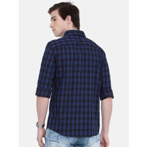 Jack & Jones Men Blue & Black Slim Fit Checked Casual Shirt
