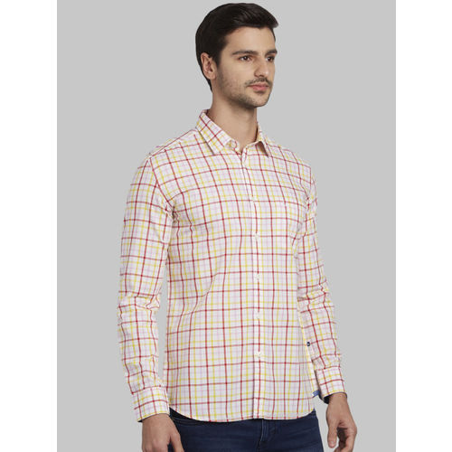 Parx Men Red Slim Fit Checked Casual Shirt