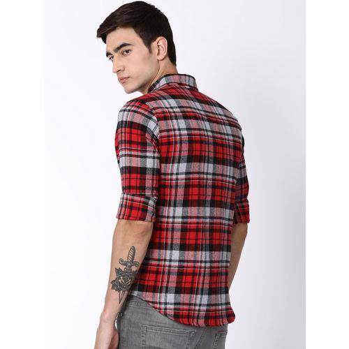 Blue Saint Men Red & Black Slim Fit Checked Casual Shirt