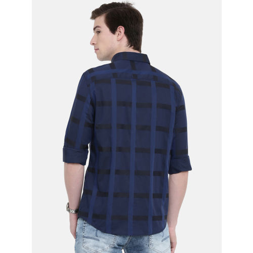 Jack & Jones Men Navy & Black Slim Fit Checked Casual Shirt