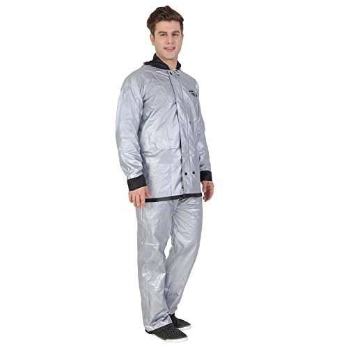 ZEEL Men's Reversible Silver PVC Raincoat