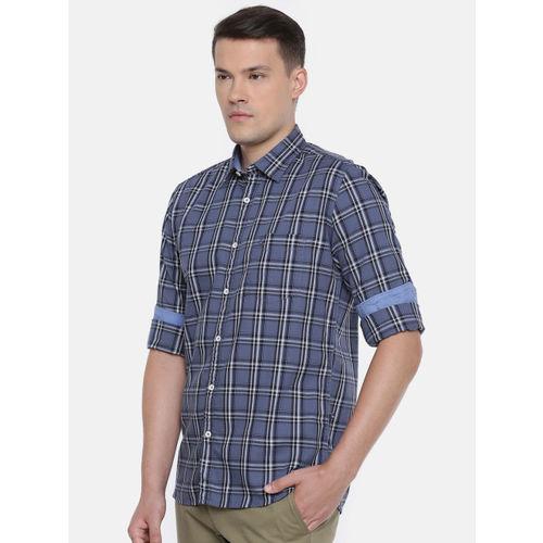 Parx Men Blue Original Slim Fit Checked Casual Shirt