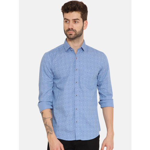 IVOC Men Blue Slim Fit Printed Casual Shirt