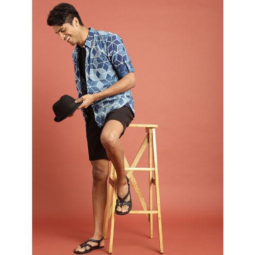 Taavi Men Indigo Hand Block Printed Casual Shirt with Roll-Up Sleeves
