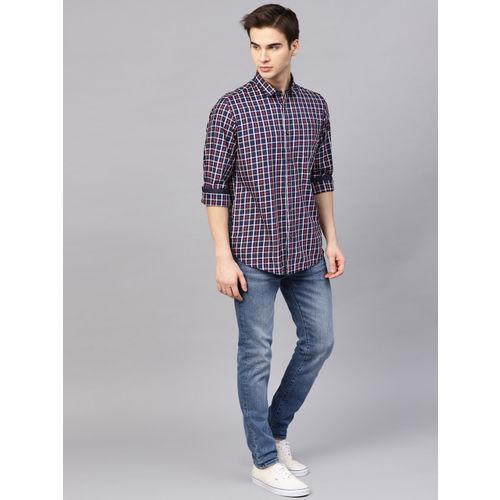 Van Heusen Men Navy Blue & Red Slim Fit Checked Casual Shirt