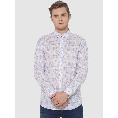 Jack & Jones Men White & Blue Slim Fit Printed Casual Shirt