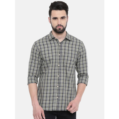 IMYOUNG Men Green & Blue Slim Fit Checked Casual Shirt