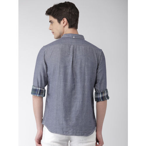 Celio Men Blue Regular Fit Solid Chambray Casual Shirt