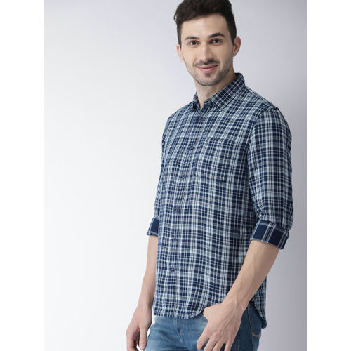 Celio Men Blue Regular Fit Checked Casual Shirt