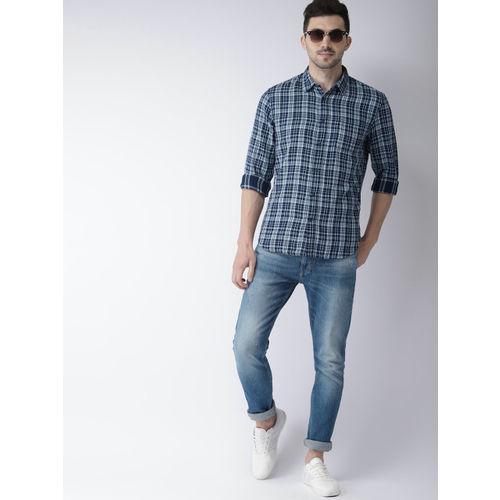 Celio Men Blue Regular Fit Checked Casual Shirt