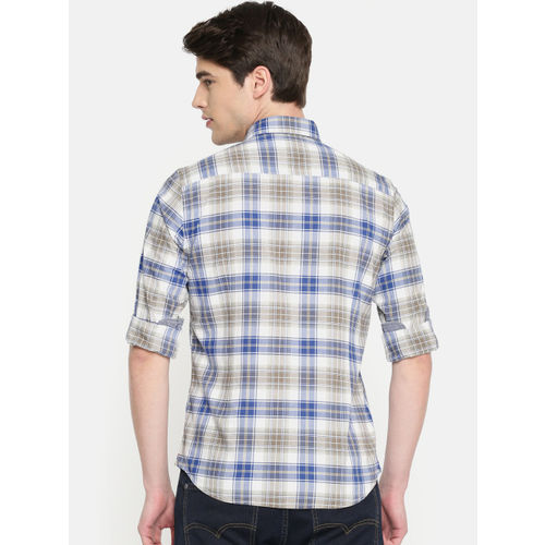 U.S. Polo Assn. Denim Co. Men Beige & Blue Slim Fit Checked Casual Shirt