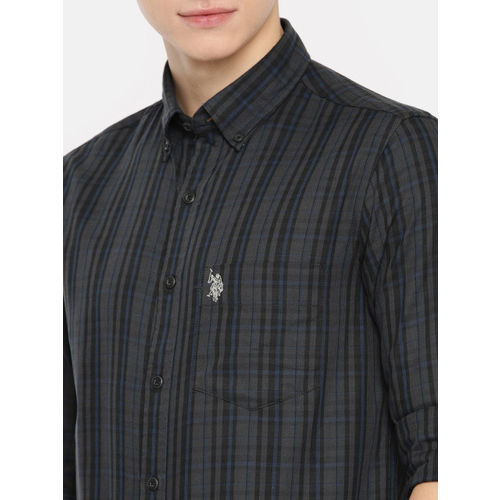 U.S. Polo Assn. Men Charcoal Grey & Black Tailored Fit Checked Casual Shirt