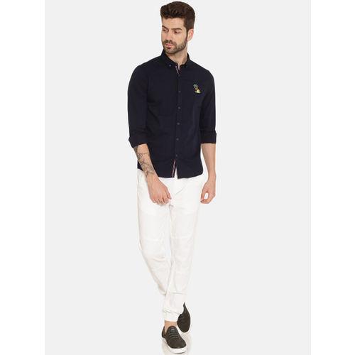 IVOC Men Navy Blue Slim Fit Solid Casual Shirt