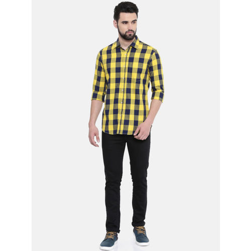 IMYOUNG Men Yellow & Blue Slim Fit Checked Casual Shirt