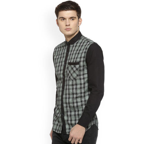 Campus Sutra Men Green & Black Regular Fit Checked Casual Shirt