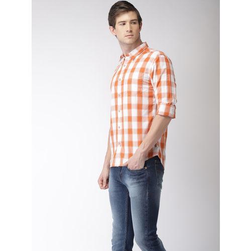 Flying Machine Men Orange & White Regular Fit Checked Casual Shirt