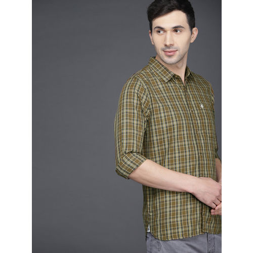 WROGN Men Olive Green Slim Fit Checked Casual Shirt