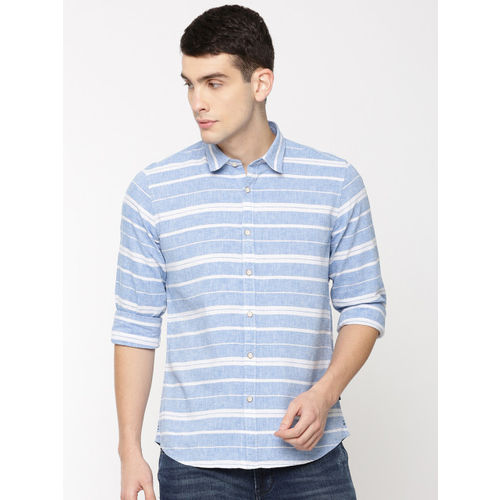 Pepe Jeans Men Blue & White Regular Fit Striped Casual Shirt