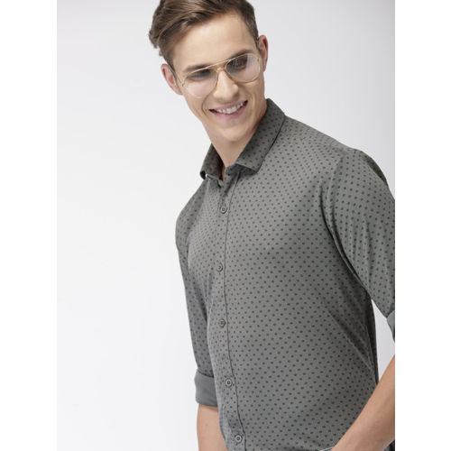 Mast & Harbour Men Grey & Navy Blue Regular Fit Printed Knitted Casual Shirt