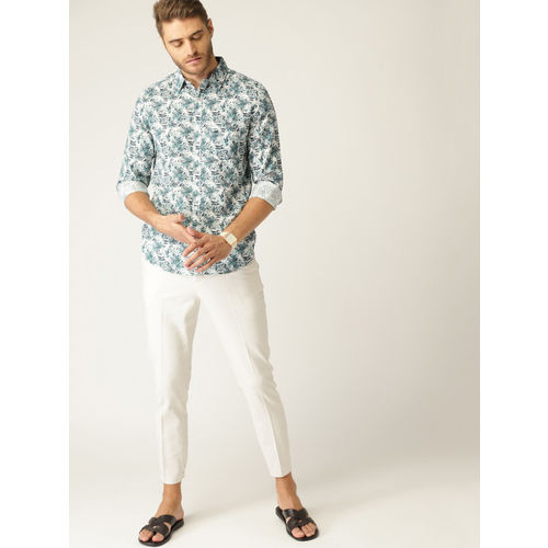 United Colors of Benetton Men White & Green Printed Slim Fit Casual Shirt