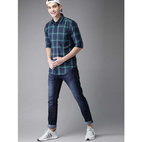 HERE&NOW Navy Blue & Teal Green Slim Fit Checked Casual Shirt