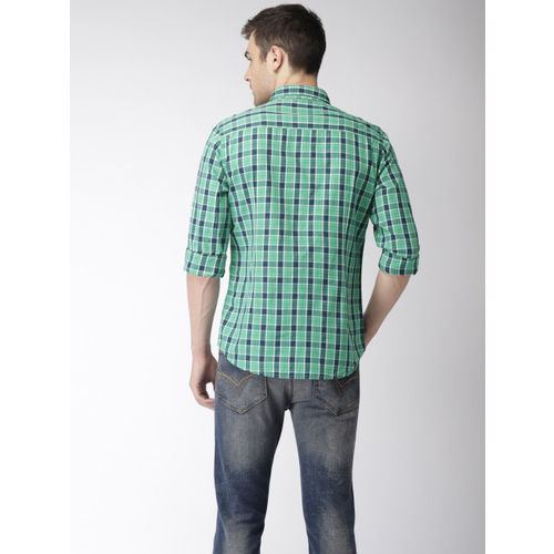 Flying Machine Men Sea Green & Navy Blue Regular Fit Checked Casual Shirt