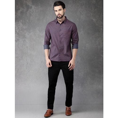 Anouk Men Blue & Red Regular Fit Printed Casual Shirt