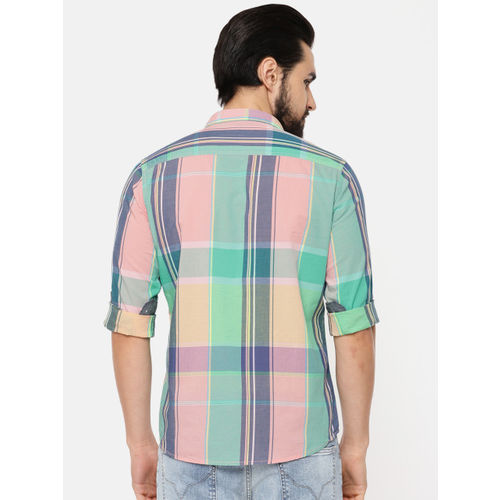 Pepe Jeans Men Coral Pink & Sea Green Regular Fit Checked Casual Shirt