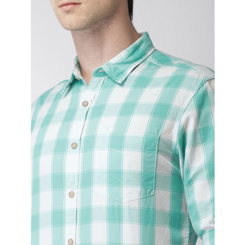 Flying Machine Blue & White Regular Fit Checked Casual Shirt