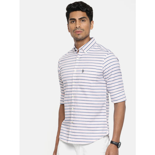 U.S. Polo Assn. Men White & Red Tailored Fit Striped Casual Shirt