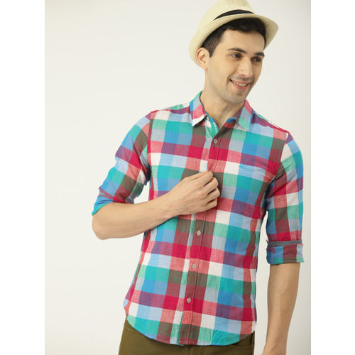 United Colors of Benetton Men Blue & Red Regular Fit Checked Casual Shirt