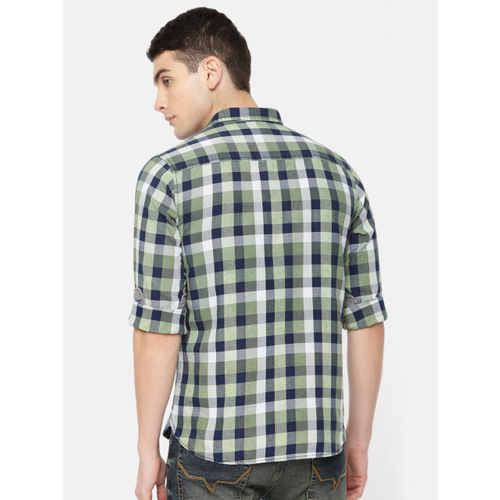Pepe Jeans Men Olive Green & Navy Blue Regular Fit Checked Casual Shirt