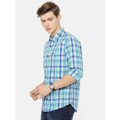 Pepe Jeans Men Blue & Green Gordon Regular Fit Checked Casual Shirt