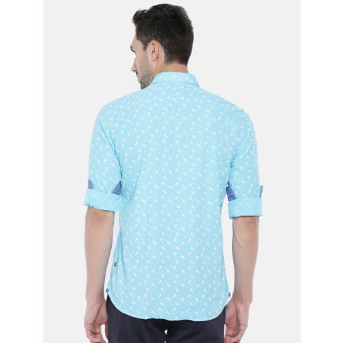 Parx Men Blue Slim Fit Printed Casual Shirt