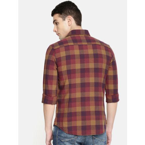 U.S. Polo Assn. Denim Co. Men Maroon & Brown Slim Fit Checked Casual Shirt