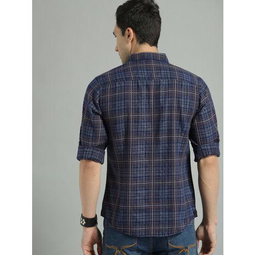Roadster Men Navy Blue & Grey Regular Fit Checked Casual Shirt