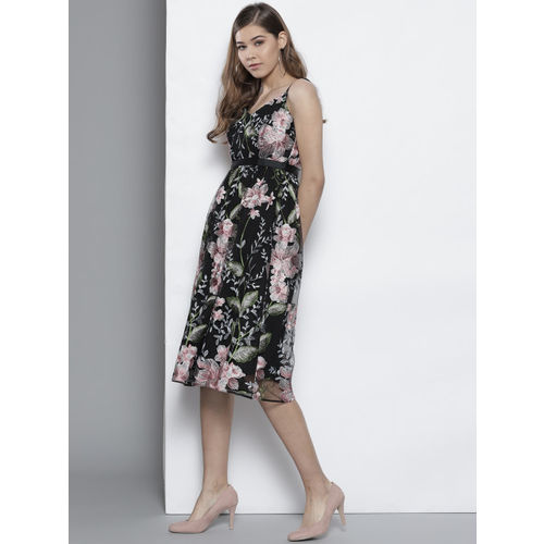 DOROTHY PERKINS Women Black & Pink Embroidered Empire Dress