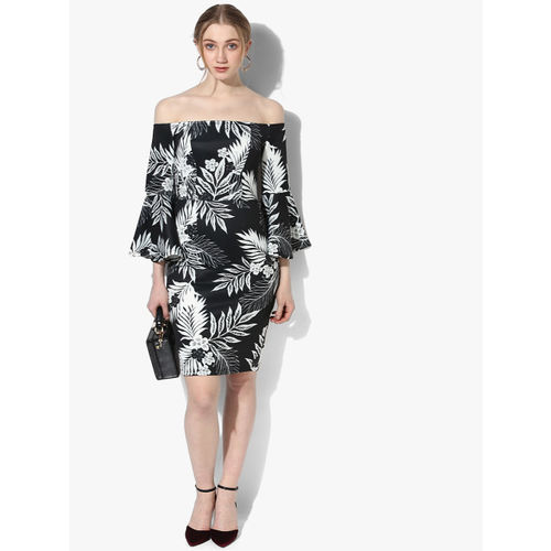 DOROTHY PERKINS Black Coloured Off-Shoulder Printed Shift Dress