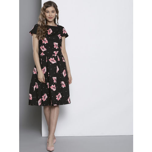 DOROTHY PERKINS Women Black Printed Fit & Flare Dress