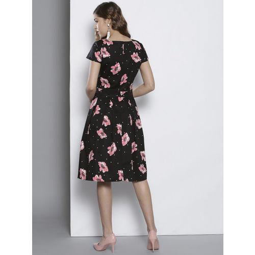 DOROTHY PERKINS Women Black Printed Fit & Flare Dress