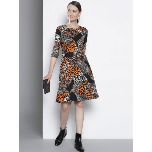 DOROTHY PERKINS Women Black & Rust Orange Animal Print Fit and Flare Dress