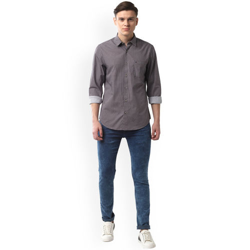 Peter England Casuals Men Blue & White Slim Fit Printed Casual Shirt