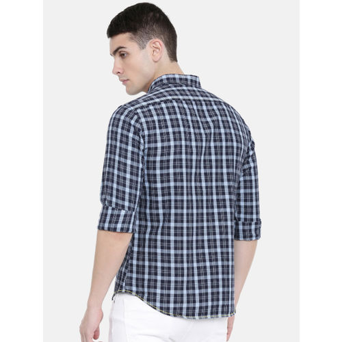 IMYOUNG Men Blue Slim Fit Checked Casual Shirt