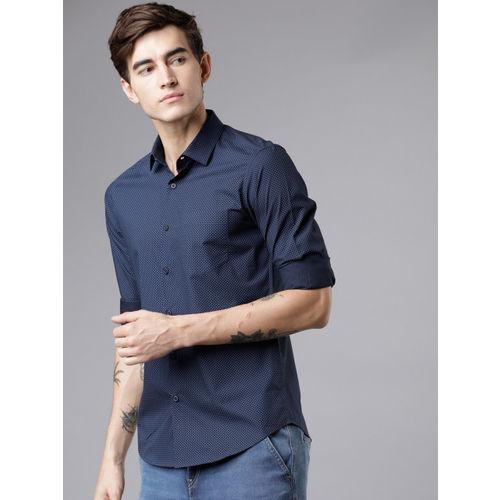 HIGHLANDER Men Navy Blue Slim Fit Solid Casual Shirt