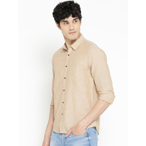 Pepe Jeans Men Beige Regular Fit Solid Casual Shirt