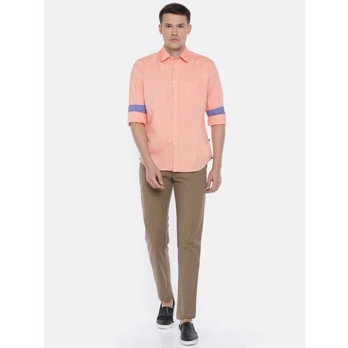 Parx Men Peach-Coloured Slim Fit Solid Casual Shirt