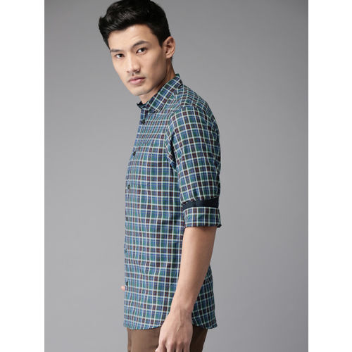 THE BEAR HOUSE Men Multicoloured Slim Fit Checked Casual Shirt