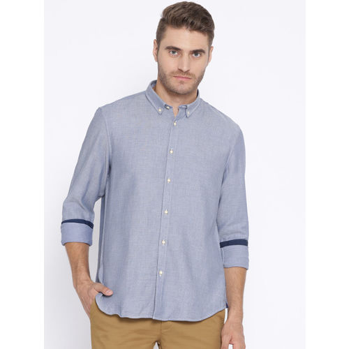 Blackberrys Men Blue Slim Fit Solid Casual Shirt