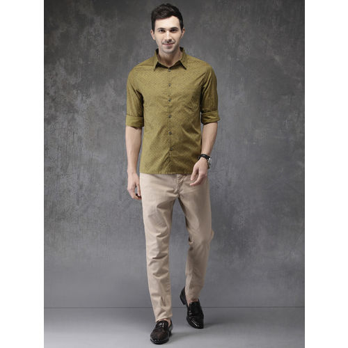Anouk Men Mustard Yellow Regular Fit Printed Casual Shirt