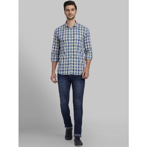 Parx Men Blue & Beige Slim Fit Checked Casual Shirt